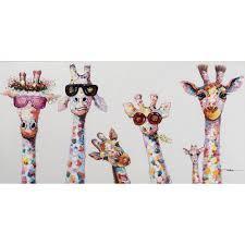 curious giraffes framed wall art on