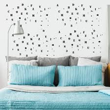 Shop Letter And Number Wall Stickers Removable Paper Decal For Bedroom Black Overstock 29186841
