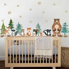 Woodland Theme Kids Room Wall Decal Fabric Wall Decal Room Mural Nursery Decal Forest Animal Decals Pine Trees Stickers Baby Decor In 2020 Kids Room Wall Decals Kids Room Wall Nursery Mural