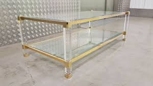 pierre vandel coffee table brass lucite