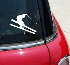Mammoth Skier Vinyl Sticker Decal Skis Skiing Snow Mountain Park Truck Suv Car