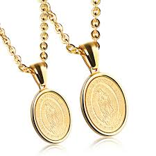 religious virgin mary round gold medal