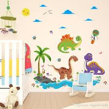 Cartoon Stegosaurus Pterosaur Dinosaur Paradise Volcano Coconut Tree Wall Stickers Kids Room Nursery Wall Mural Poster Wallpaper Decals Removable Kids Wall Decals Removable Stickers From Magicforwall 7 93 Dhgate Com