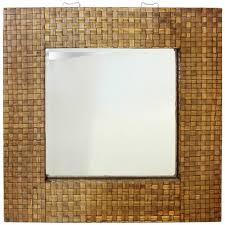 mid century bamboo framed mirror