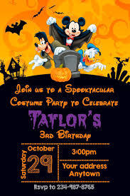 12 Halloween Costume Mickey Mouse Birthday Party Invitations