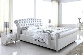 white queen bed frame leather size