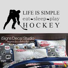 Hockey Wall Decal Eat Sleep Play Hockey By Isignsdecalstudio 36 00 Hockey Bedroom Boys Room Decals Baby Boy Nursery Sports