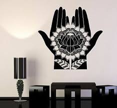 Vinyl Wall Decal Mehndi Decoration Beauty Hands Henna Lotus Stickers 697ig Ebay