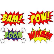 Amazon Com Vwaq Comic Book Set Of 4 Wall Decal Sound Effects Comic Book Bam Pow Boom Wham Pack Of Superhero Vinyl Wall Art Peel And Stick Stickers Cb5 10 H X 16