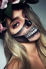 sugar skull half face makeup saubhaya