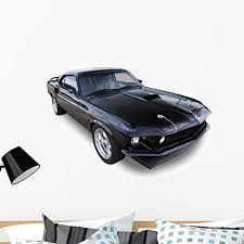Amazon Com Wallmonkeys Black Muscle Car Wall Decal Peel And Stick Decals For Boys 36 In W X 24 In H Wm218592 Home Kitchen
