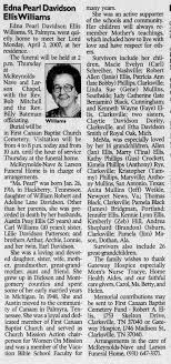 Obituary of Edna Pearl Davidson Ellis Williams - Newspapers.com