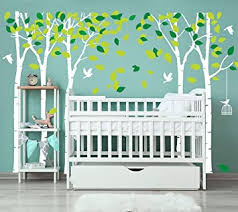 Amazon Com Luckkyy Large Five Family Trees With Birds And Birdcage Tree Wall Decal Tree Wall Sticker Kids Room Nursery Bedroom Living Room Decoration 103 9x70 9 White Baby