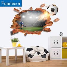 Fundecor Football Break Wall 3d Wall Stickers For Kids Room Bedroom Bar Restaurant Wall Decor Decals Self Adhesive Home Decor Wall Decals For Cheap Wall Decals For Girls Room From Totwo2 14 91
