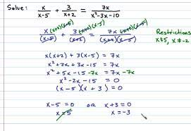 solving rational equations in beginning