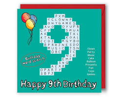 9th Word Search Birthday Card 9th Birthday Number Card.   Etsy