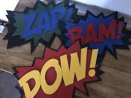 Comic Book Laser Cut Wood Wall Decor Bam Pow Zap Nursery Decor Boys Bedroom Ebay
