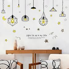Pendant Lamp Wall Stickers Pvc Material Diy Art Pendant Lamp Wall Decals For Living Room Background Wall Home Decor Stickers Lamp Wall Decal Wall Decalswall Sticker Aliexpress