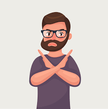 Man shows a gesture stop or no. Vector illustration in cartoon style -  Download Free Vectors, Clipart Graphics & Vector Art