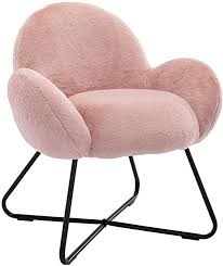 Amazon Com Guyou Mushroom Accent Chair Faux Fur Makeup Armchair Upholstery Sofa Plush Furniture For Kids Room With Black Metal Cross Legs Pink Kitchen Dining