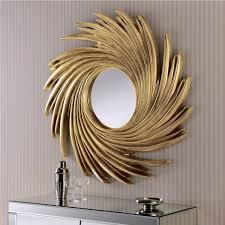 contemporary wall mirror gold swirl