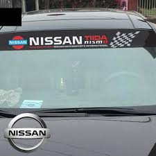 1 X Reflective Nissan Logo Car Window Sunshade Sticker Windshield Decal For Nissan Rogue Altima X Trail Qashqai Sentra Sylphy Juke Teana Tiida Etc Size 130 21cm Geek