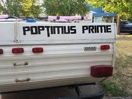 Poptimus Prime Custom Rv Vinyl Decal Sticker Lettering Popup Pop Up Camper Camping Trailer Fifth Pop Up Camper Vinyl Decal Stickers Creative Hobbies