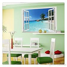 Wallpaper Home Decoration Large Removable Beach Sea 3d Window Decal Wall Sticker Home Decor Exotic Beach View Art Mural Home Decoration Home Decoration Accessories From Dhgatejiaju 14 09 Dhgate Com