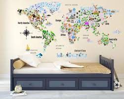 Cultural World Map Wall Decal World Map Wildlife Nursery Room Decor Kids Room Decals Educational Wall Decals Repositionable Decal Sold By Decal Art 2 Life On Storenvy
