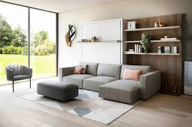 queen wall bed with sectional sofa