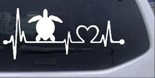 Sea Turtle Heartbeat Lifeline Car Or Truck Window Decal Sticker Rad Dezigns