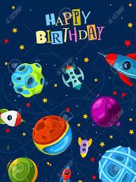 Tarjeta De Regalo Feliz Cumpleanos Con Planetas Y Cohetes Lindos