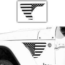 Amazon Com Precut Side Fender Vent American Flag Vinyl Decal Compatible With Jeep Wrangler Jl 2018 2020 And Gladiator 2020 Both Sides Satin Black Kitchen Dining
