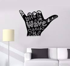 Water Sports Vinyl Wall Decal Shaka Surfing Wall Poster Home Decor Surfering Wave Quote Wall Mural Surfer Hand Stickers Wall Mural Decal Vinyl Art Stickers From Joystickers 9 77 Dhgate Com