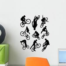 Bike Stunt Silhouettes Wall Decal Sticker Set Wallmonkeys Com