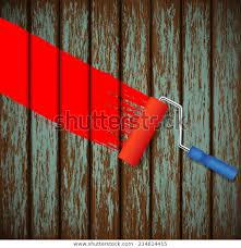 Paint Roller Old Wooden Fence Stock Vector Royalty Free 214614415