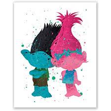 Amazon Com Pgbureau Trolls Poster Branch And Poppy Wall Art Prints Kids Room Decor Nursery Trolls Birthday Party Decoration 8x10 Posters Prints