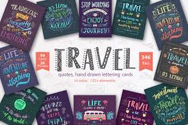 travel hand drawn color lettering quotes design cuts