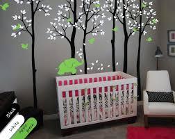Large Black Trees Birds Baby Elephant Nursery Wall Sticker Vinyl Dec Walldecaldesigns