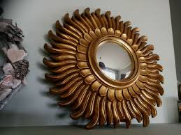 gold sunburst sunflower convex mirror