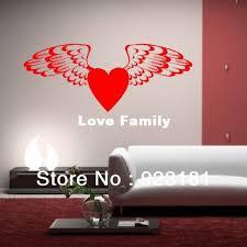 angel wings love heart vinyl wall art
