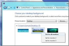 wallpaper and taskbar across dual monitors