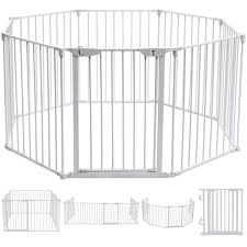 Baby Play Pen Pet Fence Playpen Foldable Room Divider Play Yard Barrier 6 Panel White Toys Games