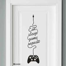Eat Sleep Game Wall Decals Removable Diy Lettering Stickers For Boys Bedroom Living Kids Rooms Wallpaper Home Decor Door Sticker Wall Stickers Aliexpress