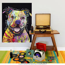 Beware Rainbow Pit Bull Dog Dean Russo Wall Decal At Retro Planet