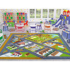 Kc Cubs Multi Color Kids Children Bedroom Country Farm Road Map Construction Educational Learning 5 Ft X 7 Ft Area Rug Kcp010025 5x7 The Home Depot