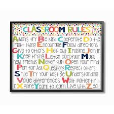 Shop The Kids Room By Stupell Classroom Rules Colorful Alphabet Black Framed 24 X 30 Proudly Made In Usa 24 X 30 Overstock 30334782