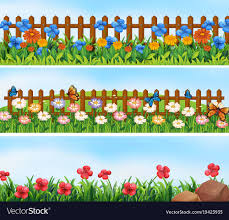 Garden Scenes With Flowers And Fence Royalty Free Vector