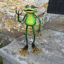 fabulous green metal garden frog