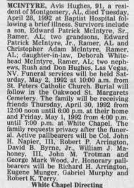 Obituary for Avis MCINTYRE Hughes (Aged 91) - Newspapers.com